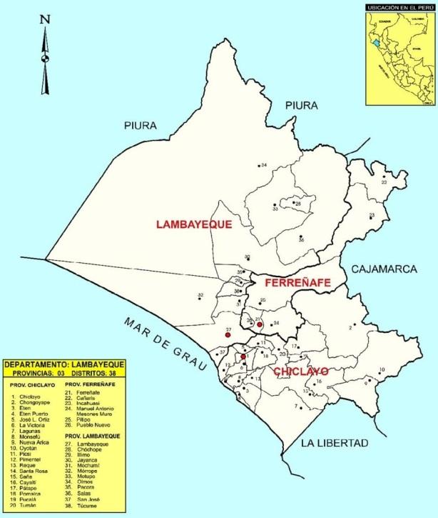 Mapa de la Región Lambayeque