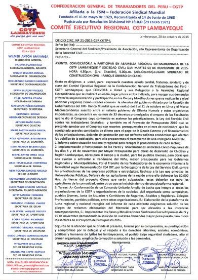 CGTP ASAMBLEA REGIONAL 03112015