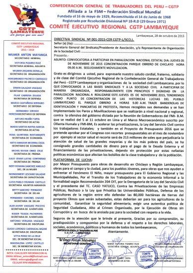 CGTP DIRECTIVA SINDICAL CONVOCATORIA PARO ESTATAL